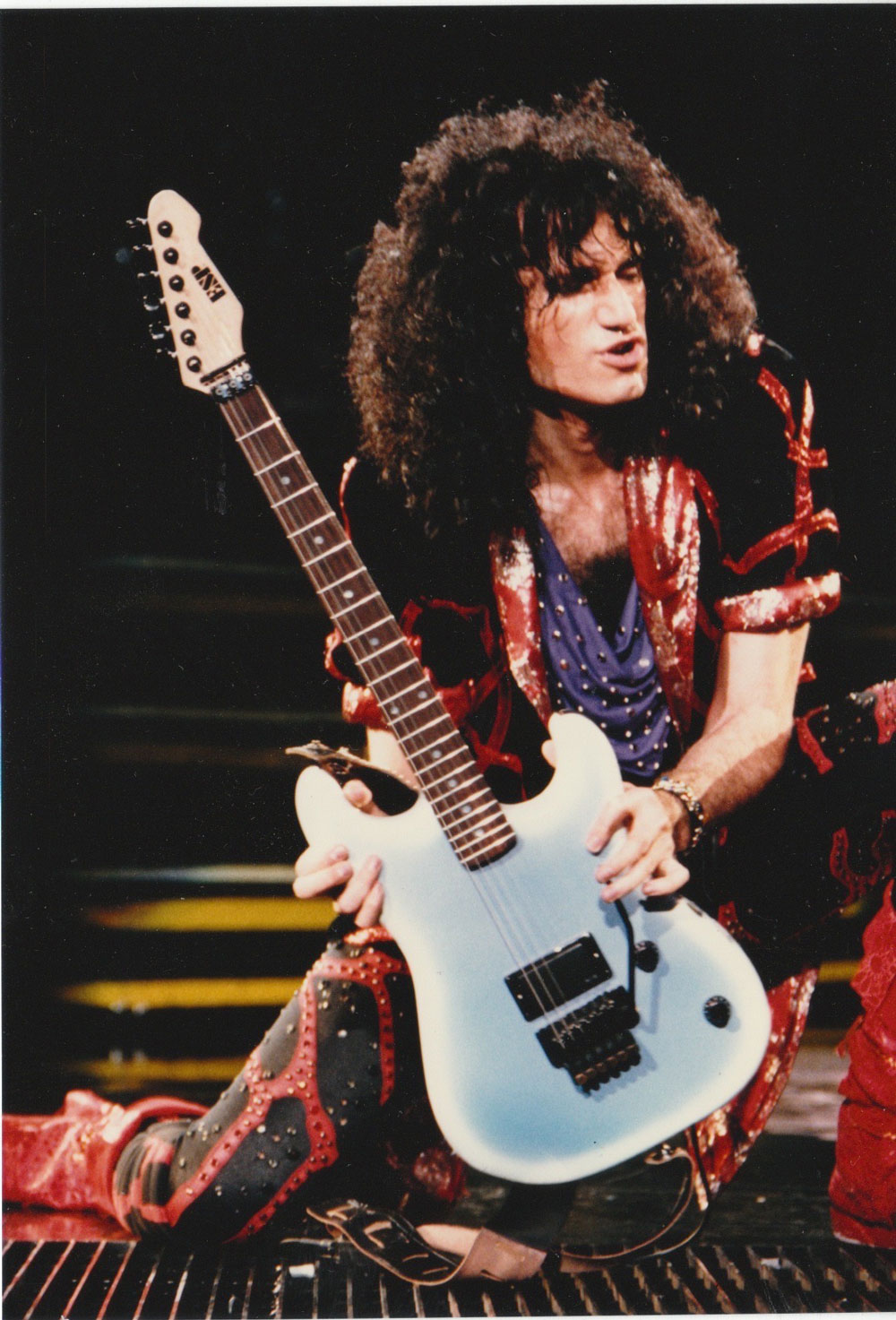 Bruce Kulick with his Blue ESP M1 Asylum 1985